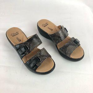 Clarks Delana Felena black snake dress sandal